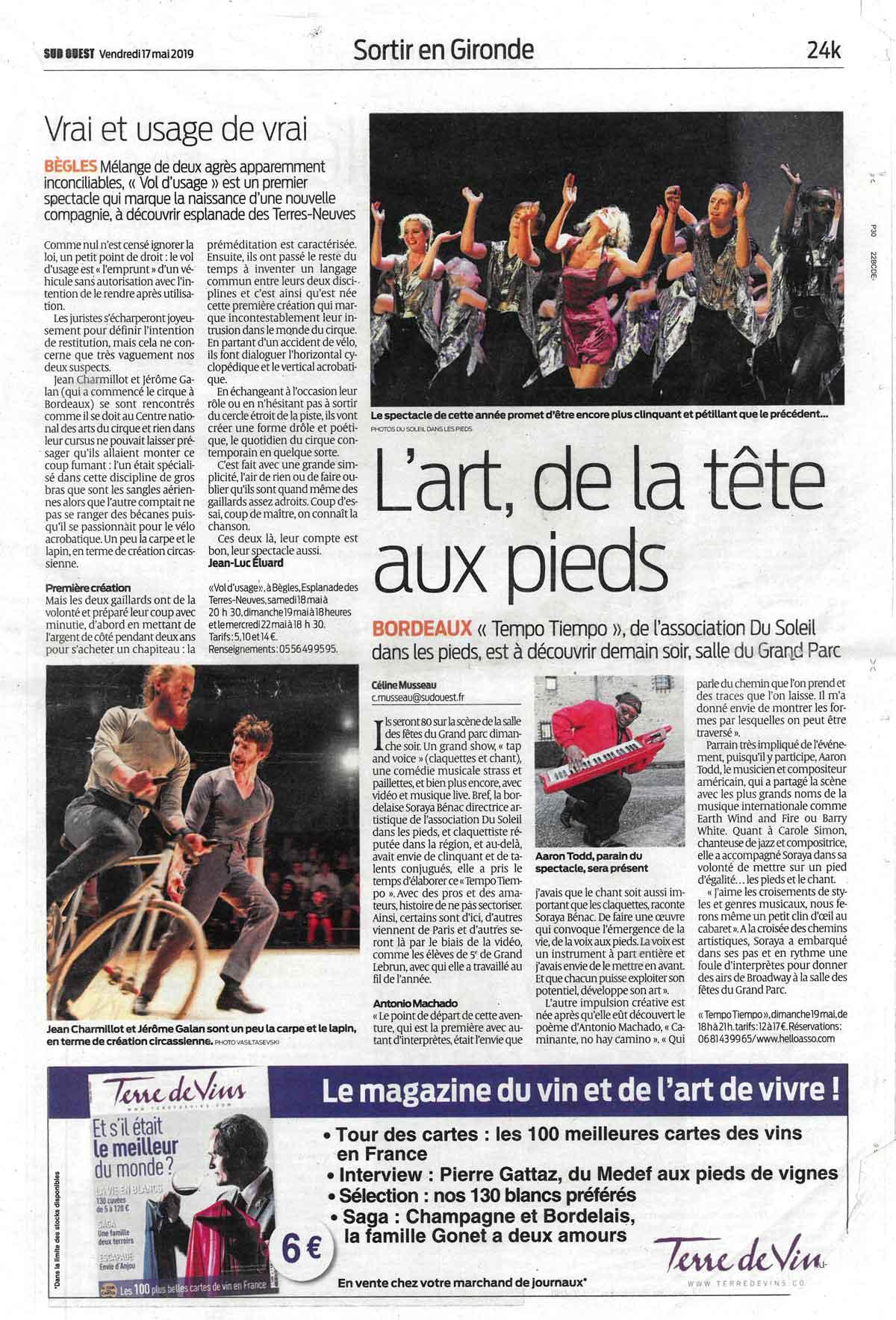 Article de presse sur le studio Bénac