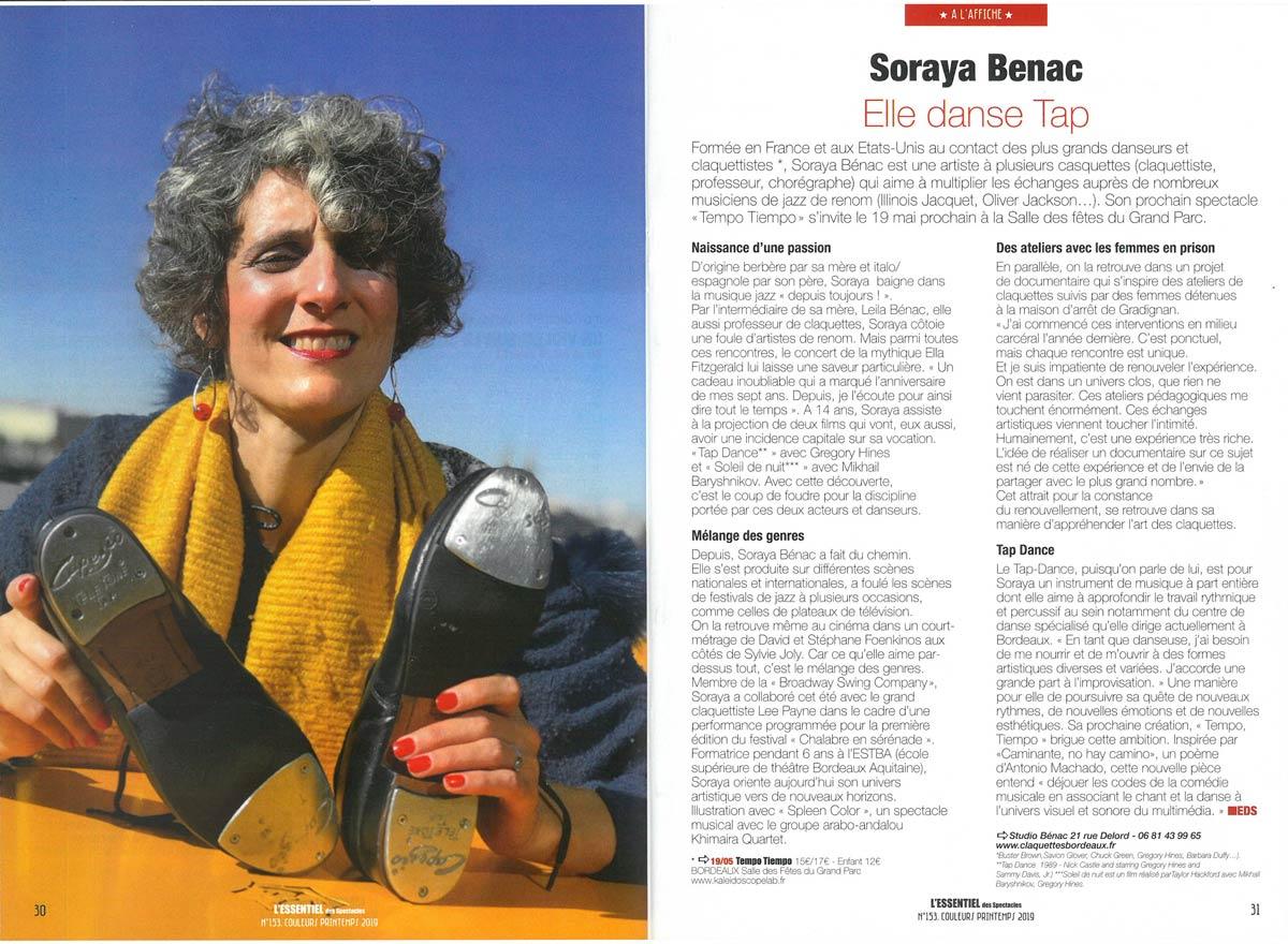 Un portrait de Soraya Bénac dans le magazine L'Essentiel en 2019