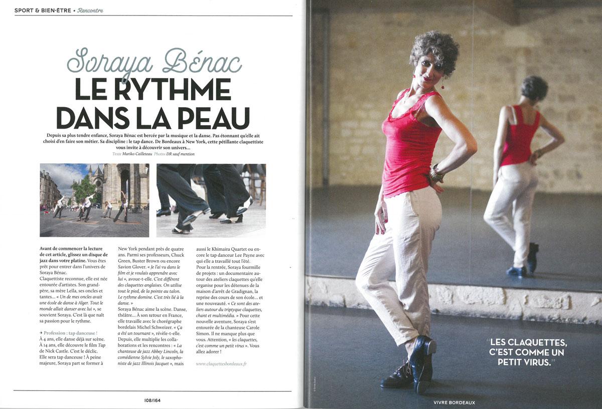 Article de presse sur Soraya Bénac Vivre Bordeaux