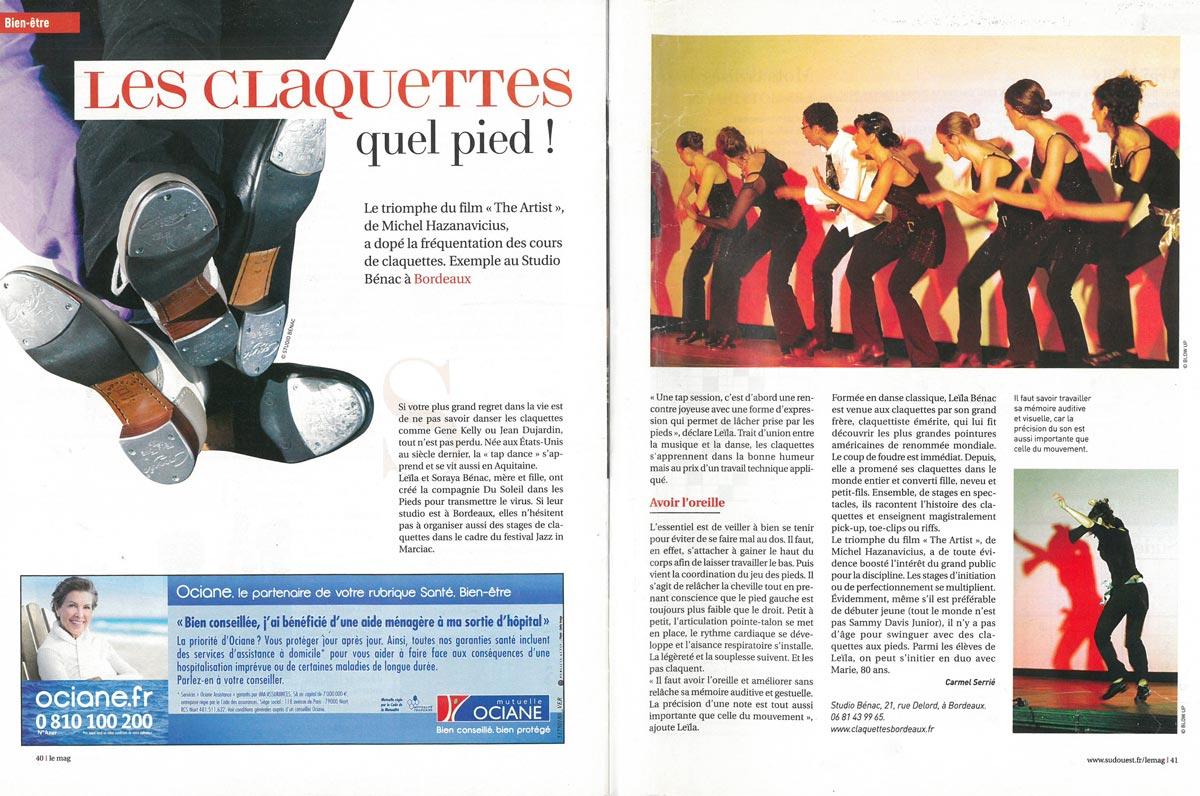 Article de presse sur la Studi Bénac Bordeaux claquettes Tap Dance
